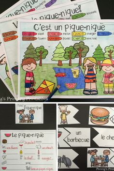 French Picnic Write the Room Picnic Activities, Vocabulary Activities, Learning French For Kids, Learning Spanish, French Picnic, High School French, Word Puzzles, Word Pictures, France