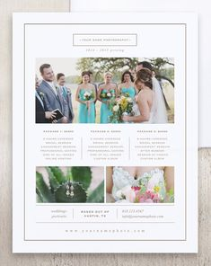 Photographer Price List Template Photography Pricing Sheet Wedding