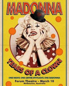 Ladies and Gentlemen...... (artwork by Roberto Fernandez )  TEARS OF A CLOWN. Exclusive show in Forum Theatre Melbourne  in March 10. Madonna rehearsals:  Im So Stupid Nobodys Perfect Love Spent and Joan of Arc.  #tearsofaclown #melbourne #rebelhearttour #mdnaskin  #livingforlove #hungup #hongkong #Madonna #queenofpop  #queen  #videoqueen  #RebelHeart  #recordoftheyear  #photooftheday  #happy  #tagforlikes  #beautiful  #picoftheday  #fun  #smile  #instadaily  #fashion  #valentineday #queen…