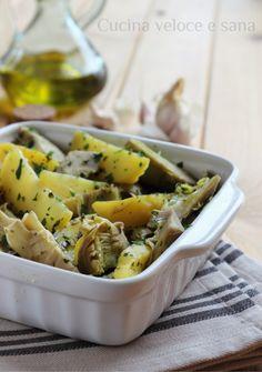 patate e carciofi al vapore Pasta Salad, Potato Salad, Entertaining, Drink, Ethnic Recipes, Garden, Food, Chicken, Soda
