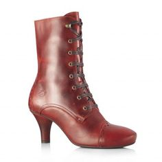 Bottines à lacet coloris rouge cuir fly london modèle aura femme du 35 au 42
