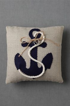 Moored Devotion Ring Pillow great for nautical wedding Nautical Wedding, Nautical Theme, Nautical Pillows, Vintage Nautical, Rustic Wedding, Diy Pillows, Throw Pillows, Pillow Ideas, Keepsake Rings