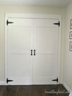 DIY Cottage Closet Door Makeover - We have a hall closet that used to have ugly, brown bi-fold doors. I bought some used hollow core doors {not bi-fold} at a Ha… Home Diy, Cottage Room, Closet Bedroom, Bifold Doors, Closet Door Makeover, Diy Closet, Closet Doors, Closet Makeover, Bedroom Closet Doors