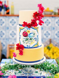 tile painted cake