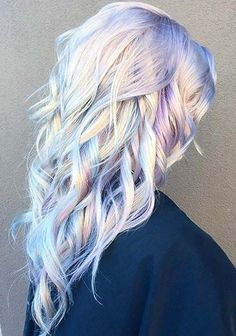 It is the beautiful hair that enhances the personality. And 2017 is the time of holographic hair. This talented hairstylist from Ross Michaels Hair Salon introduced this holographic hair color trend. Watercolour Hair, Watercolor Painting, Bold Hair Color, Blonde Hair With Color, Hair Goals Color, Purple Streaks, White Blonde, Purple Ombre, Makeup With Blonde Hair