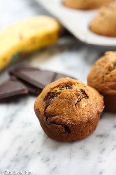 Banana Chocolate Chunk Muffins - Eat, Live, Run