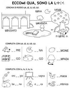 scheda consonante L cl prima