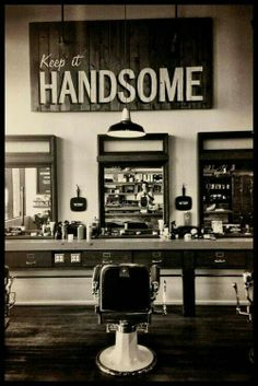 "Vintage barber shop interior - ""Keep it handsome"" Barbershop Design, Barbershop Ideas, Barbershop Quotes, Barber Quotes, Spa Design, Men's Grooming, Mustache Grooming, Home Interior, Barber Shop Interior"