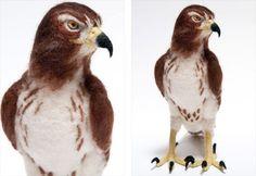 Needle Felted Hawk by Kiyoshi Mino.