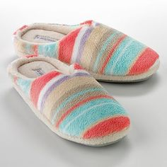 Dearfoams Classic Striped Terry Cloth Slippers - Size Medium