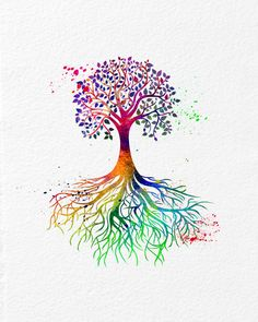Watercolor Art Print Tribal Nature Tree Modern 5x7 by AmourableArt