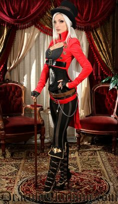 Oh how we love the beautiful Kato! I especially love this Red Openbust Tailcoat Steampunk Couture!