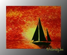 "Sailboat PaiNtiNg AcRyLiC on Canvas oRiGiNaL Ocean Art Seascape Bright Colorful Sunset 14"" x 11"" by ArtworkbyJeni - ""Sailor's Solace"""