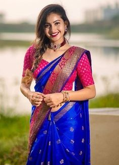 Half Saree Designs, Silk Saree Blouse Designs, Saree Blouse Patterns, Lehenga Designs, Bridal Sarees South Indian, Bridal Silk Saree, Indian Sarees, Wedding Saree Collection, Dress Collection