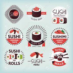 Set Of Various Sushi Labels Vector Illustration Clip Art Libres De Droits , Vecteurs Et Illustration. Image 46242193.