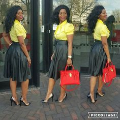 #OOTD # High Waisted leather Skirt & Bow blouse ..!!! Everyone who is called by My name, whom l have created for My glory; l have formed him, yes, l have made him.