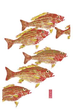 Gyotaku fish print_Lane Snappers    Love the red!