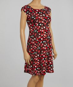 Love this Red Dotty Maternity Cap-Sleeve Dress on #zulily! #zulilyfinds