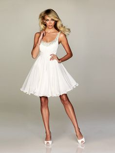 A-line Spaghetti Straps Chiffon White Cocktail Dresses/Short Prom Dress With Beading #WX044
