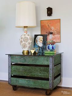 Storage units found at your local flea market can transform into modern additions in your home with a few easy steps. Simply add a new glass top, such as the one added to this old Laundromat cart, and attach casters to transform the furniture into an eye-catching display piece./