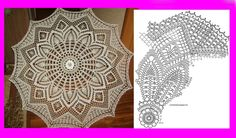 Crochet Doily Diagram, Crochet Doilies, Crochet Lace, Free Crochet, Lace Umbrella, Lace Parasol, Doily Patterns, Crochet Patterns, Diagram Chart