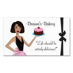 Bakery Pastry DIVAlicious Business Cards. Make your own business card with this great design. All you need is to add your info to this template. Click the image to try it out!