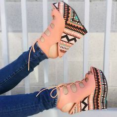 Coral Lace Up Wedges
