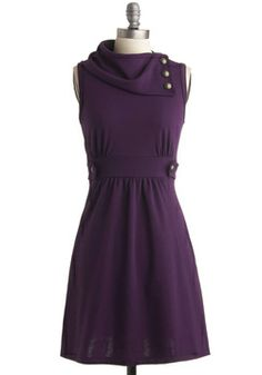 Coach Tour Dress in Violet: Goddess in Purple/ My Space-Age Flight Attendant/Bring me my whiskey. #ModCloth #ModClothHaiku