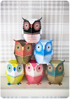 Paper owls printables--Make Hedwig and all her friends.  Wonderful site with tons of other fun characters to create.  Wouldn't this be a fun thing to do with kids on a rainy day?