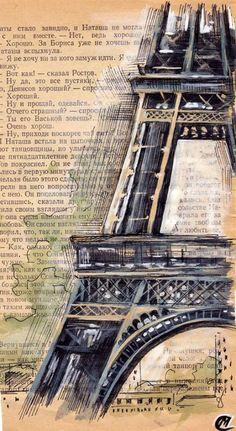 Gcse Art Ideas Altered Books Ideas For 2019 Kunstjournal Inspiration, Art Journal Inspiration, Tour Eiffel, Book Page Art, Book Art, Petite France, Deco Paris, Gcse Art Sketchbook, Newspaper Art