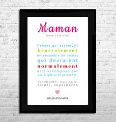 Affiche A4 : Citation définition Maman