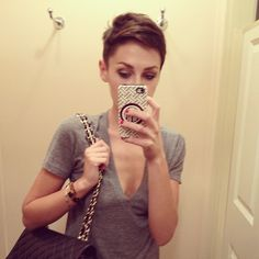 Katie Armour - pixie with shaved sides.