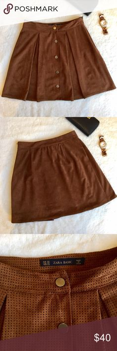 Zara Suede Skirt A line Suede mini skirt from Zara. In good condition and only worn a few times. Zipper on the side. Has a liner underneath. Can be worn in the summer and winter with tights and booties for a cute look. Zara Skirts Mini