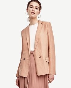 Primary Image of Linen Blend Blazer Red Blazer, Blazer Jacket, Long Jackets, Outerwear Jackets, Blazer Buttons, Work Wear, Clothes For Women, My Style, How To Wear