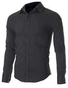 FLATSEVEN Men's Slim Fit Casual Button Down Dress Shirt Long Sleeve (SH600) Black, L FLATSEVEN www.amazon.com/... #FLATSEVEN #menswear #shirt #shirts #slimfit...