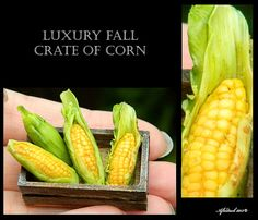 Luxury Fall Corn Crate - Artisan fully Handmade Miniature in 12th scale. From After Dark miniatures.