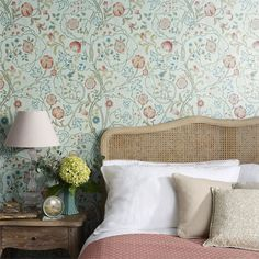 William Morris & co Mary Isobel Liberty Wallpaper, Wallpaper Canada, Morris Wallpapers, William Morris Wallpaper, Floral Wallpapers, Rattan Basket, Floral Wall Art, Designers Guild, Cozy Blankets
