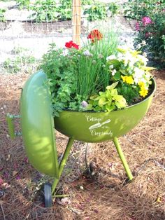 Don't throw away your old grill-turn it into a planter! It already has drainage holes in the bottom and will make the cutest little planter EVER!
