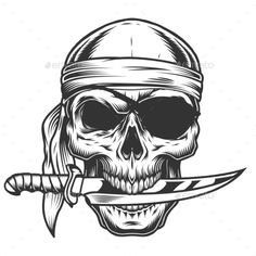 Buy Skull with Knife by imogi on GraphicRiver. Skull with knife. Pirate Tattoo, Pirate Skull Tattoos, Evil Skull Tattoo, Gothic Tattoo, Pin Up Tattoos, Body Art Tattoos, Tattoo Drawings, Skull Drawings, Tatoos
