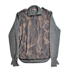 PRADA CAMO SWEATER COAT XL 54 BUILT IN GLOVES EPAULETS CAMOUFLAGE BOMBER JACKET