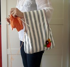 Wristlet Project Bag for Knitting Crochet by LiliaCraftParty