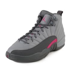 cdefac254a1efb Nike Girls Air Jordan 12 Retro GG Wolf Grey Vivid Pink 510815-029