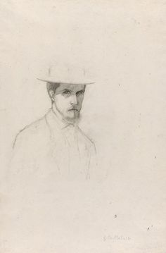 """Gustave Caillebotte (1848-1894) -   """"Self-Portrait with a Hat"""" -   Graphite on off-white, medium-weight, moderately textured laid paper - http://www.artic.edu/aic/collections/artwork/140080?search_no=5&index=2"""