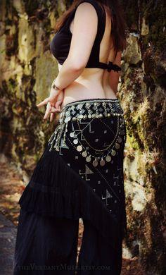 Assuit Bellydance Belt Black Assiut Tribal by theverdantmuse