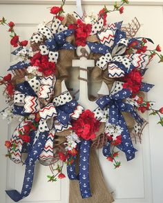 Red, White, and Blue Nautical Anchor Burlap Mesh Summer Wreath by WilliamsFloral on Etsy https://www.etsy.com/listing/228302708/red-white-and-blue-nautical-anchor