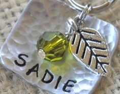 Pet ID Tag Botanical in hammered aircraft by PoochyCouture on Etsy, $12.00