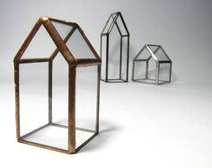 Create your own village! This listing is for a set of three tiny glass houses:  Small house: Height: 2 3/4  Width: 1 1/2 Depth: 1  Medium house: