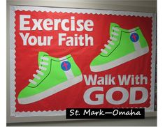 Sunday school bulletin board - a great anytime bulletin board, but also good for January when people are making resolutions to exercise more - Tap the pin if you love super heroes too! Cause guess what? you will LOVE these super hero fitness shirts! Religious Bulletin Boards, Bible Bulletin Boards, Christian Bulletin Boards, Summer Bulletin Boards, Back To School Bulletin Boards, Preschool Bulletin Boards, Bullentin Boards, Bulletin Board Ideas For Church, Sunday School Rooms