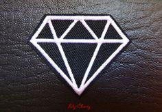 Patch écusson brodé thermocollant diamant noir et blanc pinup rockabilly x1 : Déco, Customisation Textile par lilycherry