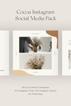 Cocoa Social Media Pack – 60 Instagram Posts & Stories Templates. Cocoa is created in Adobe Photoshop and, as always, fully editable. All 60 templates are PSD Instagram square posts and stories combined with different shapes and colors to create something, that will make your brand unique and increase your followers. 60 PSD files 30 Instagram Posts: 1080x1080 30 Instagram Stories: 1080x1920 Easy to edit templates with fully customisable Images, Text and Background Organized layers Free Fonts Instagram Square, Instagram Story, Instagram Posts, Cocoa, Insta Layout, Story Template, Social Media Template, Adobe Photoshop